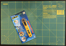 OLFA ROTARY CUTTING MAT 12'' X 18'' RM-1C-C + ROTARY CUTTER RTY-1/G ART & CRAFT