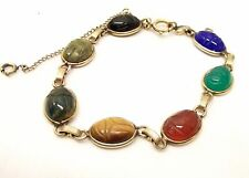 Vtg 12K Gold Filled Scarab Beetle Bracelet Egyptian Revival Stone Carved Gem