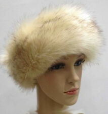 Faux Fur Headband Ear Warmer Winter ski ear muffs Cream with Brown tint Hairband
