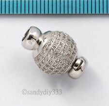 1x Rhodium STERLING SILVER CZ ROUND BEADING THREAD CORD CONNECTOR CLASP #2649