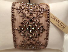 Chan Luu Jewelry Bronze Lace & Crystals Cuff Bracelet Adjustable Fit NEW!