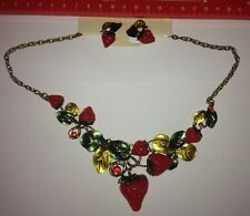 Stunning Large Bronze Effect Strawberry Choker Statement Necklace with Earrings