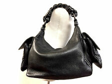 BOTTEGA VENETA Black Caviar Leather Intreciatto Pockets Braided Strap Hobo Bag