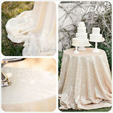 """108"""" Round Ivory Sequin Tablecloth Beautiful Sequin Table Cloth / Overlay /Cover"""
