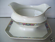 Antique Rare J. & G. Meakin Sol Parkstone Gravy Boat With Attached Under Plate