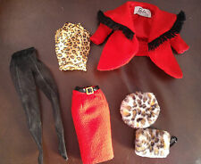 BARBIE RED JACKET & SKIRT WITH LEOPARD PRINT TOP - 'WINTER IN MONTREAL' - CUTE