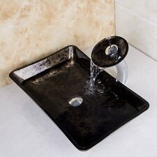 Lines Hand Paint Washbasin Tempered Glass Basin Sink Faucet Set