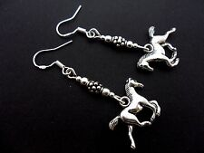 A PAIR OF TIBETAN SILVER HORSE PONY EARRINGS WITH 925 SOLID SILVER HOOKS. NEW..