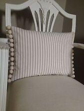 Beige Stripe Fabric With Pom Pom Trim Shabby Chic Cushion Cover