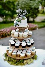 Cupcake Donut Stand (Tower Holder) 4 Tiers Wedding Party Wooden Rustic Bark