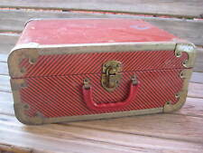 Vintage 50's Doll Toy Wardrobe Metal TRUNK Chest Travel Case 14""