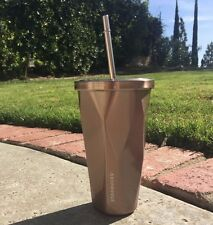 Authentic Starbucks Rose Gold Stainless Facet Cold Cup 16oz  Tumbler Straw