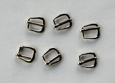 VINTAGE 6 TINY SMALL SILVER METAL BUCKLE 10mm 3/8ths inch Red's Vintag Stuff!