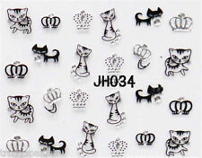 Halloween Nail Art Stickers Decals Black Cats Silver Pussy Cat Crowns Bows (34)