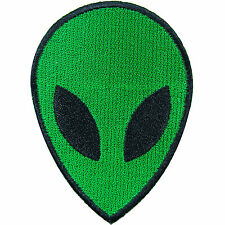 UFO Alien Head Face Flying Saucer Roswell Area 51 Space Green Iron-On Patch N019