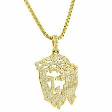 Ghost Jesus Piece Pendant Iced Out Simulated Diamonds 14K Gold Tone Free Chain