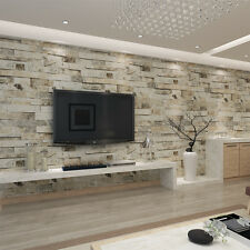 3D Brick Stone Effect Wall Paper Vinyl  Cafe Bar Room TV Background Decor Roll