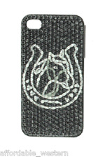 iPhone 4 4S Cover Case ~ HORSE HEAD Horseshoe ~ BLACK Crystals BLING Western
