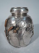Gorham Tea Caddy - American Hand Hammered Sterling Silver & Mixed Metal  - 1884