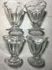 "4 Vintage 4"" Tall ANCHOR HOCKING Clear Glass Sundae Parfait Cups Glasses"