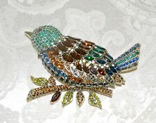 "New $230 HEIDI DAUS ""Marquise Madness"" Massive Bird Brooch Pin Topaz Emerald"