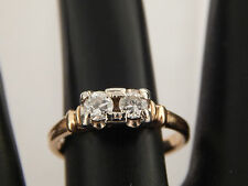 Twin Old European Cut Diamond Ring .33 tcw F/VVS Top Quality ART DECO 14k Estate