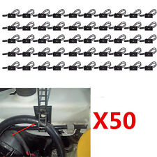50X Plastic Car Wire Clips Tie Rectangle Cable Holder Mount Self-adhesive Clamp