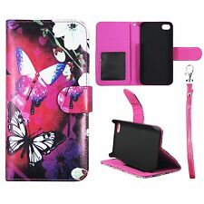 For Iphone 4 4S Wallet White Flower Butterfly Cover Split Leather Case Uni