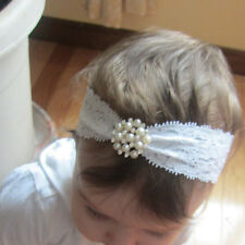 Newborn Baby Headband Girls Lace Pearl Rhinestone Flower Hair Band  Accessories