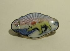 Norwegian Solid Silver and Enamel Polar Bear Brooch