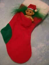 "CHRISTMAS STOCKING WITH  2"" BABY SANTA  - 9"" Russ Troll Doll Item - NEW"