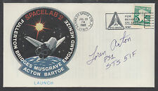 Loran Acton, Astronaut, signed SPACELAB 2 Launch Cover