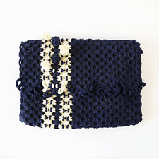 vintage 60s 70s Large navy blue cream WOVEN boho festival handbag Clutch purse