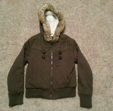 Womens Buffalo David Bitton Brown Coat Jacket Size Medium Fur Hoodie Sheep's EUC