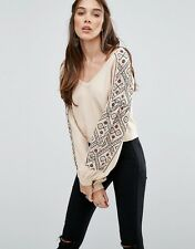 132314 NEW $168 Free People Senorita Embroidered V Neck Pullover Blouse Top S
