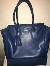 Authentic Coach Blue Legacy Large Leather Tanner Tote
