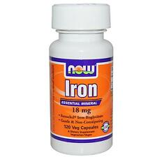 Iron Supplement - 120 - 18mg Vcaps by Now Foods - Gentle & Non-Constipating