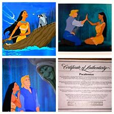 Disney Cel POCAHONTAS set of 3 CELLS Rare Animation Art with LAMINATED CEL PROMO