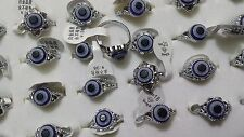 10 x Evil Eye Lucky Eye Charm Goth Punk SILVER PLATED FASHION Rings all' ingrosso