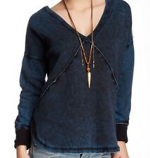 $108 FREE PEOPLE DISTRESSED BLUE WESTEROS SOFT COMFY FLEECE PULLOVER TOP Sz S