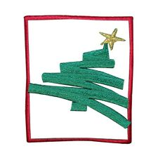 ID 8171A Christmas Tree Holiday Badge Design Embroidered Iron On Applique Patch