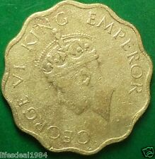 1943 British India 1 one Anna GEORGE VI KING EMPEROR fine commemorative coin
