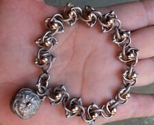 SUPERB ANTIQUE FRENCH STERLING SILVER AND GOLD CHARM BRACELET  argent -or