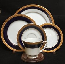 Noritake CRESTWOOD COBALT GOLD 5 Piece Place Setting (s) EXCELLENT CONDITION