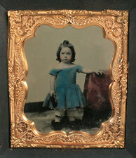 AMBROTYPE YOUNG GRIL, FULLY TINTED, BEAUTIFULL. STRONG IMAGE. PERIOD FRAME.