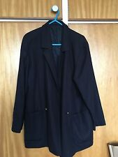 Mens or Womens Burberry overcoat navy blue size Medium or 12 vintage retro 90s