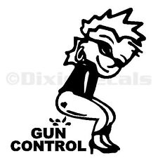 "6"" Calvin Girl Pee Piss on Obamas Liberal Gun Control Vinyl Decal Window Sticker"