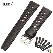 20mm 22mm New White stitched Black Brown Genuine Leather Holes Watch Bands Strap