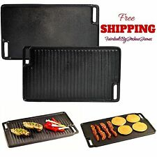 New Reversible Cast Iron Grill Griddle Burner Stovetop Cookware Home Outdoor