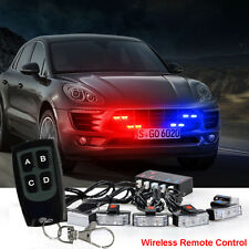 1 Kit LED Red Blue Car Truck Strobe Emergency Warning Light Bars Deck Dash Grill
